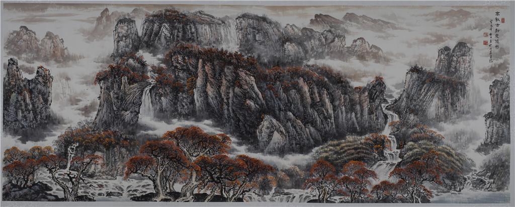 高秋古树意悠然 - 国画作品 - 杜中良-国画,艺术,山水 -官方网站