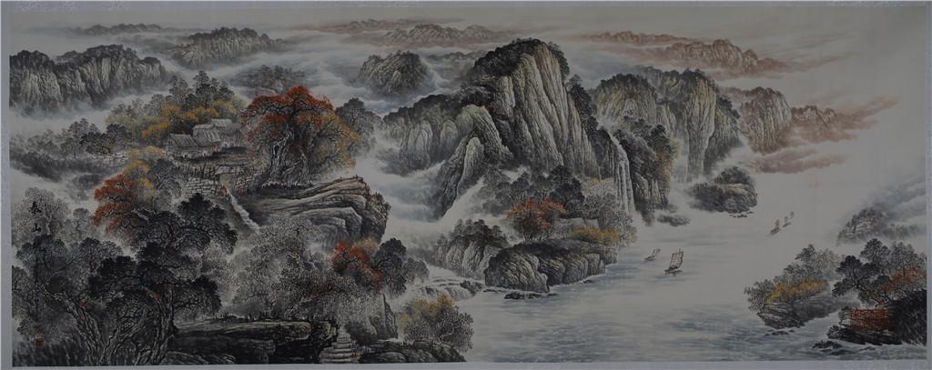 泰山烟云 - 国画作品 - 杜中良-国画,艺术,山水 -官方网站