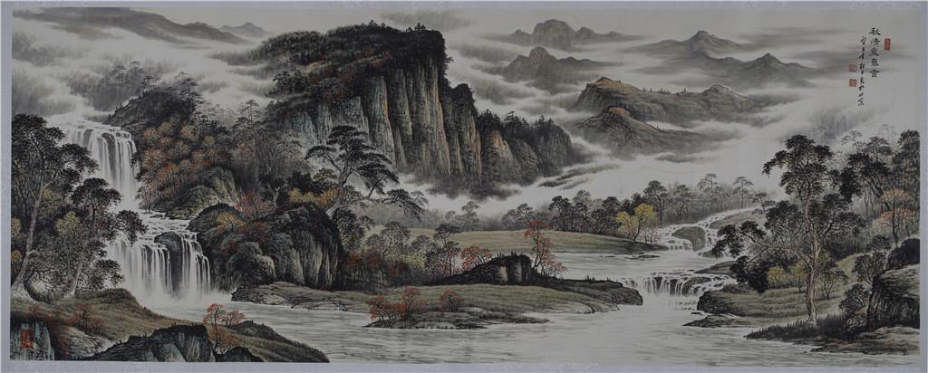 秋清泉气香 - 国画作品 - 杜中良-国画,艺术,山水 -官方网站